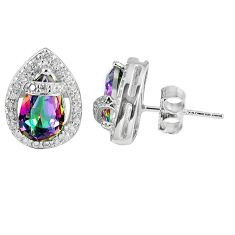 6.43cts multicolor rainbow topaz topaz 925 sterling silver stud earrings a45564