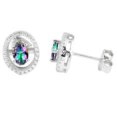 3.64cts multicolor rainbow topaz topaz 925 sterling silver stud earrings a45567
