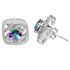 7.58cts multicolor rainbow topaz topaz 925 sterling silver stud earrings a45572