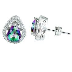 Clearance Sale-5.11cts multicolor rainbow topaz topaz 925 sterling silver stud earrings a45593