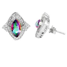 5.62cts multicolor rainbow topaz topaz 925 sterling silver stud earrings a45598