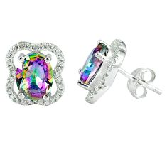 7.04cts multicolor rainbow topaz topaz 925 sterling silver stud earrings a45603