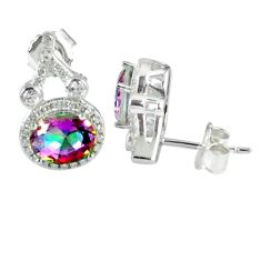 6.98cts multicolor rainbow topaz topaz 925 sterling silver stud earrings a45609