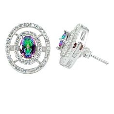 6.07cts multicolor rainbow topaz topaz 925 sterling silver stud earrings a45615
