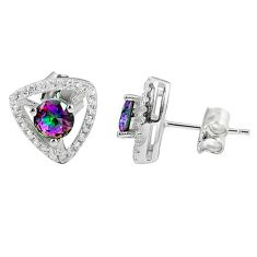 3.42cts multicolor rainbow topaz topaz 925 sterling silver stud earrings a45623