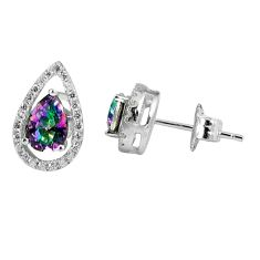 3.58cts multicolor rainbow topaz topaz 925 sterling silver stud earrings a45629