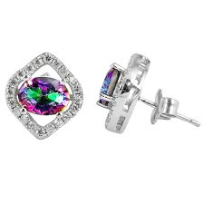 5.11cts multicolor rainbow topaz topaz 925 sterling silver stud earrings a45630