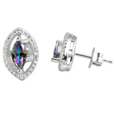 4.43cts multicolor rainbow topaz topaz 925 sterling silver stud earrings a45635