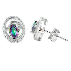 4.18cts multicolor rainbow topaz topaz 925 sterling silver stud earrings a45648