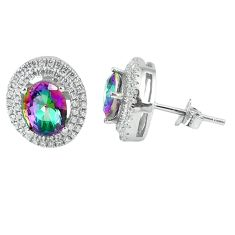 6.84cts multicolor rainbow topaz topaz 925 sterling silver stud earrings a45655