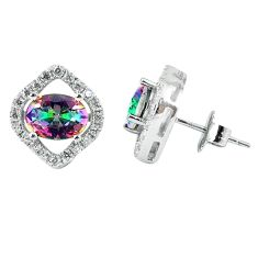 5.55cts multicolor rainbow topaz topaz 925 sterling silver stud earrings a45656