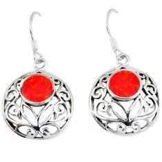 5.04gms red coral enamel 925 sterling silver earrings jewelry a45824
