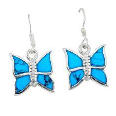 5.27gms fine blue turquoise enamel 925 sterling silver butterfly earrings a46345