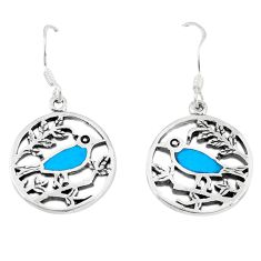 4.89gms fine blue turquoise enamel 925 sterling silver dangle earrings a46374