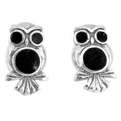 4.28gms natural black onyx enamel 925 sterling silver owl earrings a46380
