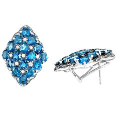 Natural blue topaz 925 sterling silver stud earrings jewelry a47048