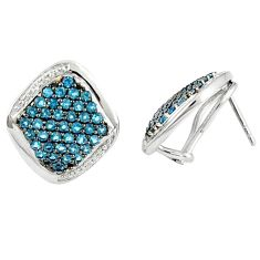 Natural blue topaz white topaz 925 sterling silver stud earrings a47056
