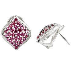 Natural pink rhodolite topaz 925 sterling silver stud earrings jewelry a47062