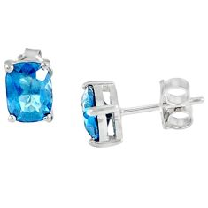 Natural blue topaz 925 sterling silver stud earrings jewelry a47072