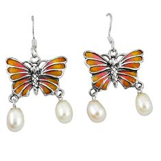 Clearance Sale-925 sterling silver natural white pearl enamel butterfly earrings a49386