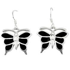 Clearance Sale-Black onyx enamel 925 sterling silver butterfly earrings jewelry a49656
