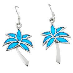 Clearance Sale-925 silver fine blue turquoise enamel dangle palm tree earrings jewelry a49675