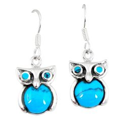Clearance Sale-Fine blue turquoise 925 sterling silver owl earrings jewelry a55497