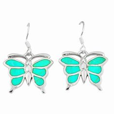 Clearance Sale-Fine green turquoise enamel 925 silver butterfly earrings jewelry a55550