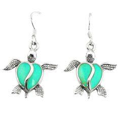Clearance Sale-Fine green turquoise enamel 925 sterling silver tortoise earrings a58859