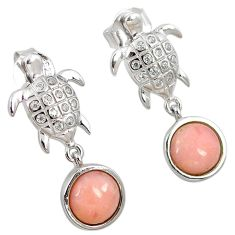 Natural pink opal white topaz 925 sterling silver tortoise earrings a59393