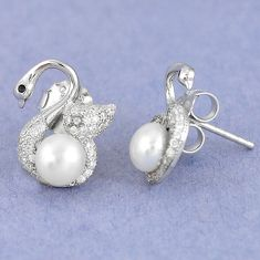 Natural white pearl topaz 925 sterling silver stud earrings jewelry a59641