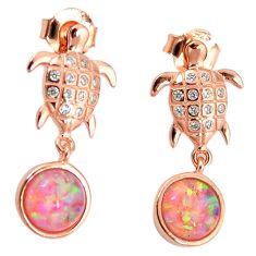 3.65cts pink australian opal (lab) 925 silver 14k gold tortoise earrings a62188