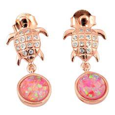 3.65cts pink australian opal (lab) 925 silver 14k gold tortoise earrings a62189