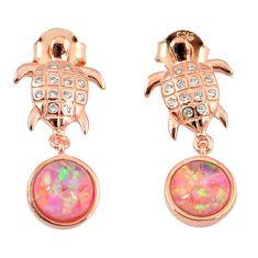 3.66cts pink australian opal (lab) 925 silver 14k gold tortoise earrings a62193