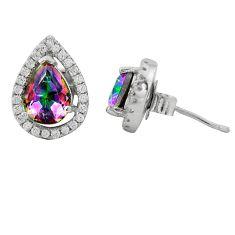 Multi color rainbow topaz topaz 925 sterling silver stud earrings a62422