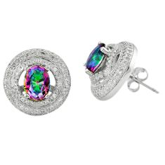 Multi color rainbow topaz topaz 925 sterling silver stud earrings a62435