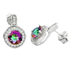 925 sterling silver multi color rainbow topaz white topaz stud earrings a62450