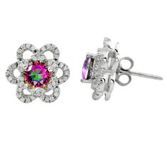 Multi color rainbow topaz topaz 925 sterling silver stud earrings a62452