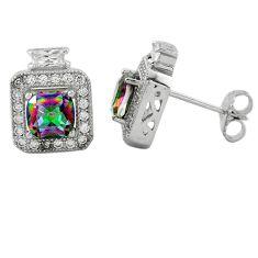 Multi color rainbow topaz topaz 925 sterling silver stud earrings a62455