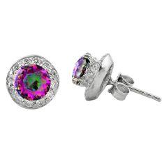 Multi color rainbow topaz topaz 925 sterling silver stud earrings a62456