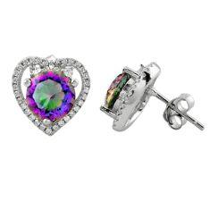 Multi color rainbow topaz topaz 925 sterling silver stud earrings a62459