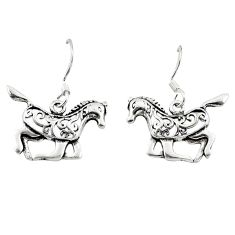 Indonesian bali style solid 925 sterling silver horse earrings jewelry a62525