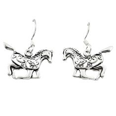 Indonesian bali style solid 925 sterling silver horse ride earrings a62728