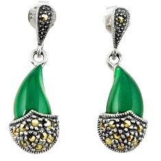 Natural green chalcedony marcasite 925 silver dangle earrings jewelry a65351