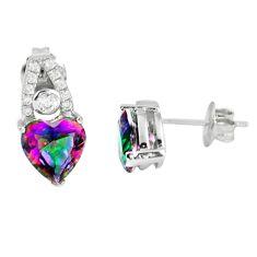 Multi color rainbow topaz heart topaz 925 sterling silver stud earrings a65867