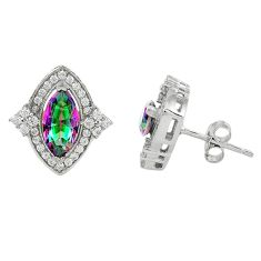 925 sterling silver multi color rainbow topaz white topaz stud earrings a67184
