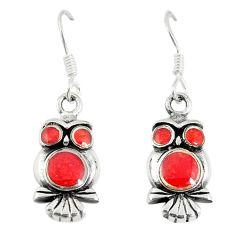 Honey onyx enamel 925 sterling silver owl earrings jewelry a67774