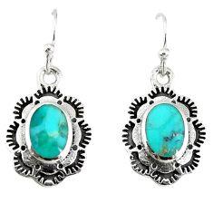 Green kingman turquoise enamel 925 silver dangle earrings jewelry a67848