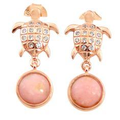 Natural pink opal topaz 925 silver 14k rose gold tortoise earrings a68023