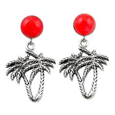 Natural red sponge coral 925 sterling silver dangle palm tree earrings a69407
